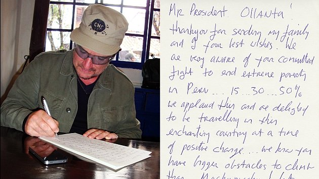 Bono escribió carta al mandatario Humala