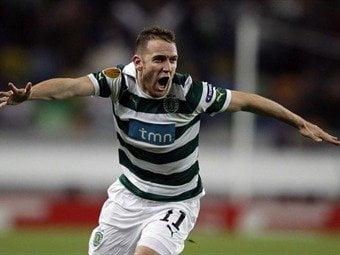 Diego Capel celebra el 2-1 a favor del Sporting de Lisboa. En una semana jugarán nuevamente en Bilbao