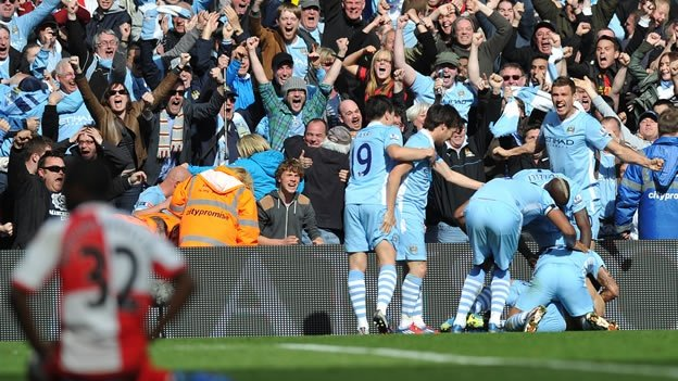 Manchester City celebra el título de la Premier League