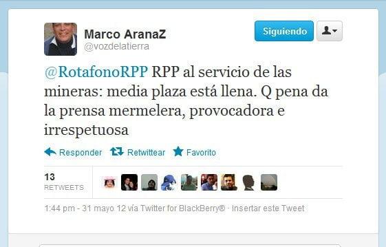 Mensaje en Twitter de Marco Arana