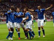 Los italianos celebran su pase a la final de la Eurocopa