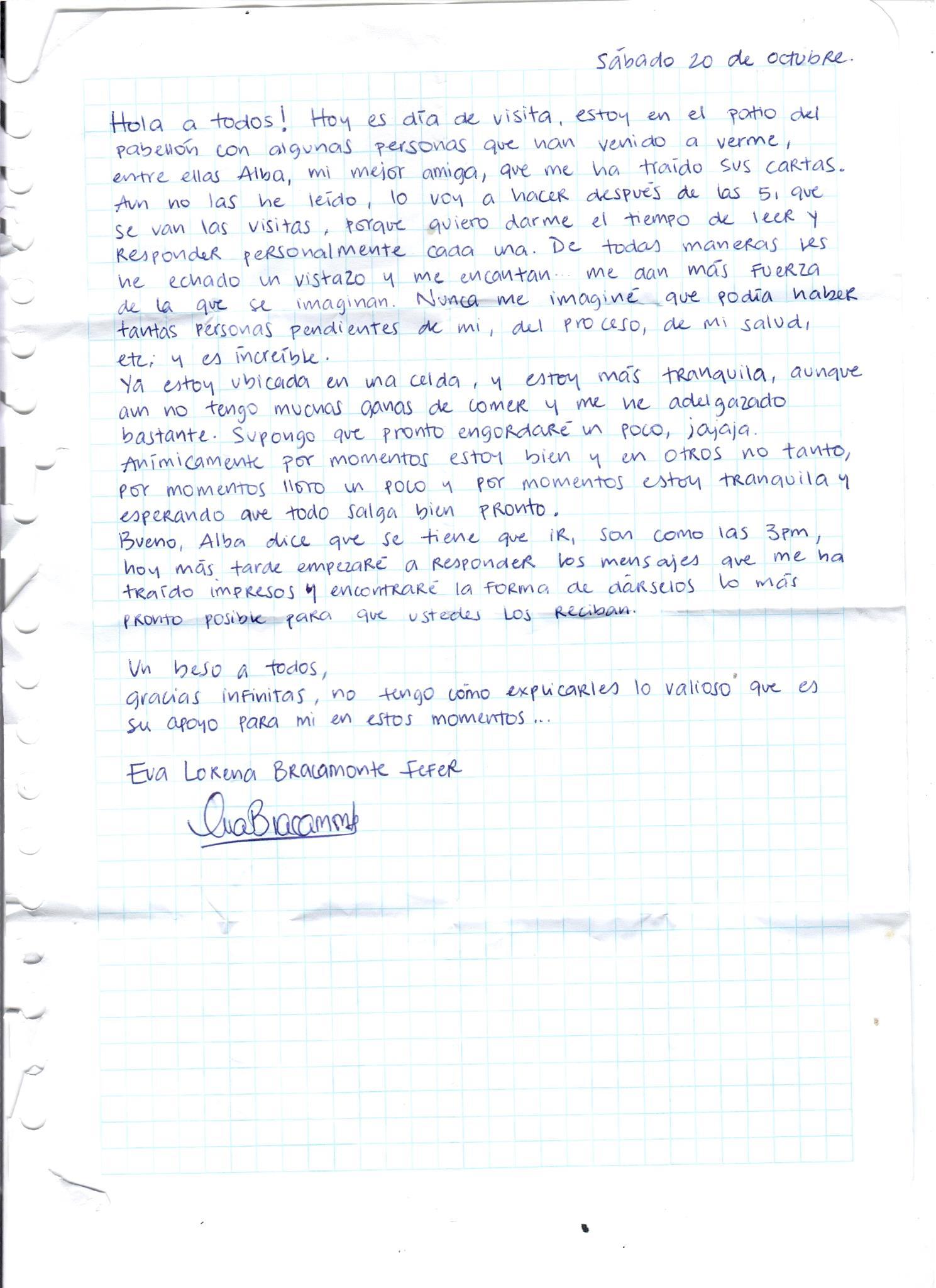 Carta enviada por Eva Bracamonte