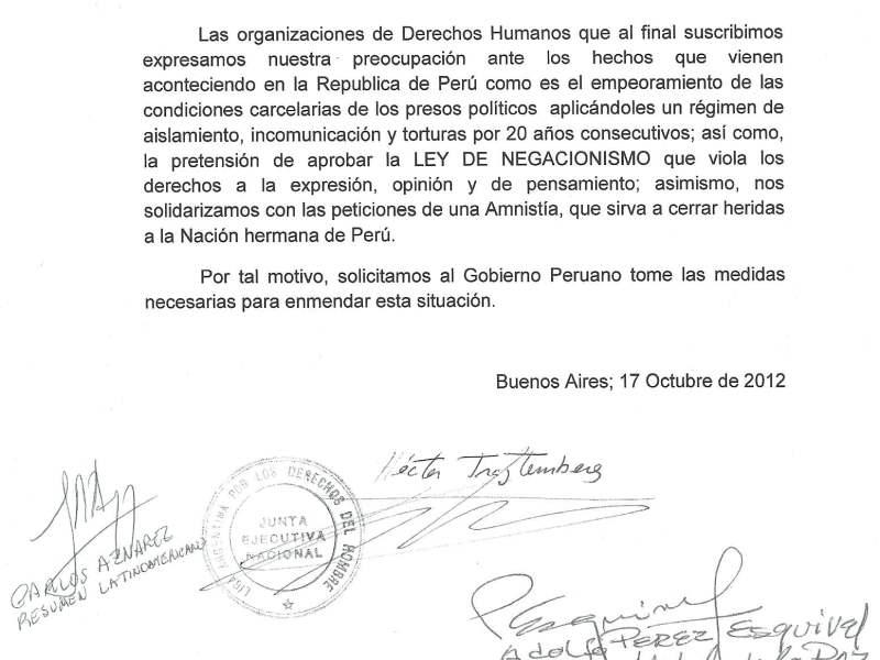 Carta de Adolfo Pérez Esquivel