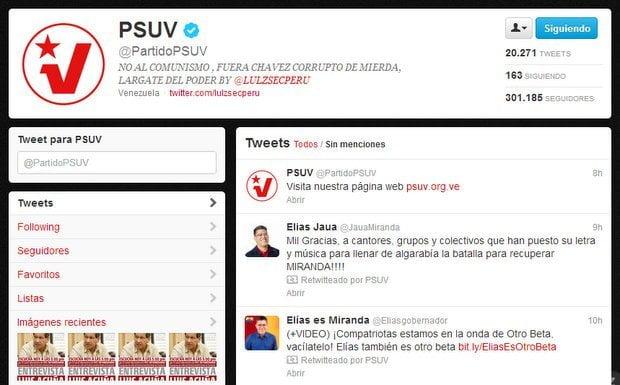 Captura de la cuenta Twitter del PSUV