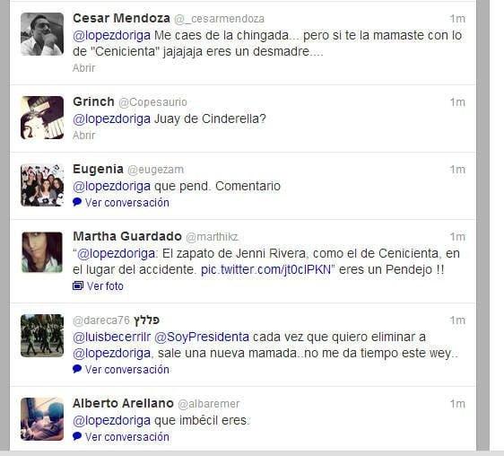 Críticas a @LopezDoriga en Twitter