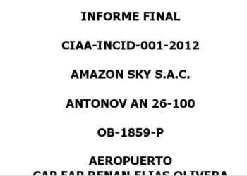 Tapa del informe que obra en el MTC sobre Amazon SKY