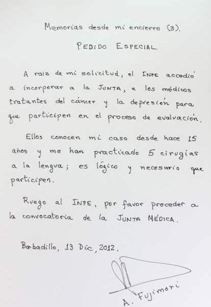 Carta enviada por Alberto Fujimori