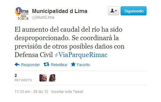 Tuit de la Municipalidad de Lima (Twitter @MuniLima)