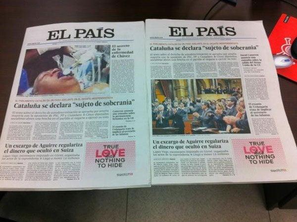 Portada de El País, en base a foto falsa de Hugo Chávez