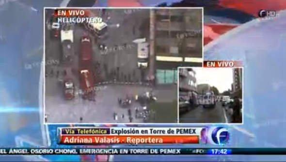 Cobertura de explosión en Torre de Pemex (Foto TV)