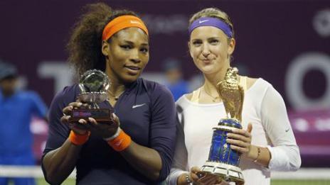 Azarenka se consagró nuevamente en Doha al derrotar a Serena Williams, quien mañana será la número uno del ranking femenino.