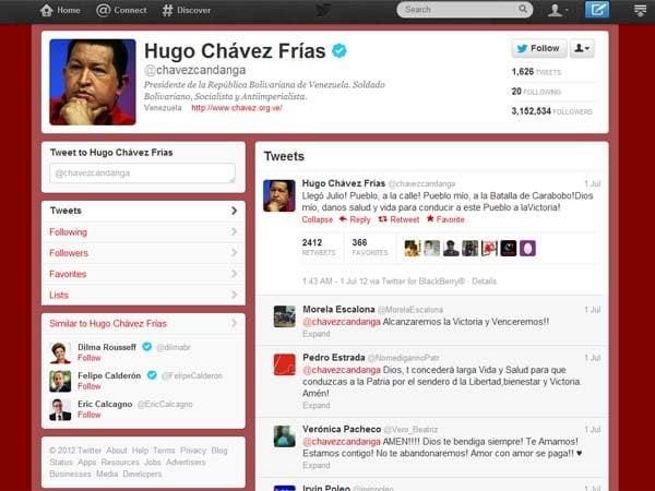 Hugo Chávez tuiteó su retorno a Caracas