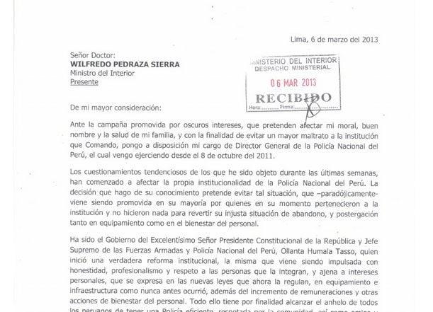 Carta de renuncia del general Raúl Salazar (Mininter)
