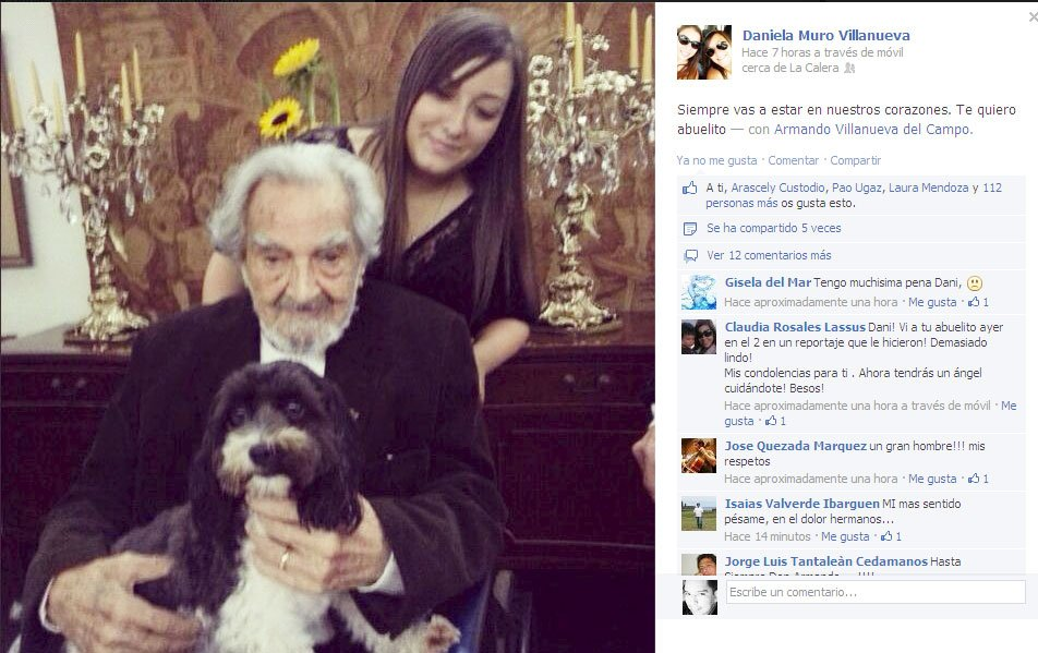 Don Armando Villanueva con su nieta Daniela Muro Villanueva (Facebbok)