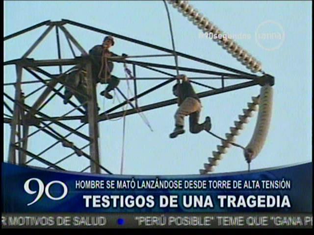 SMP: Hombre se suicida ante cámaras lanzándose desde torre de alta tensión