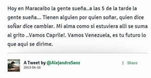 Alejandro Sanz apoya a Henrique Capriles en elecciones venezolanas