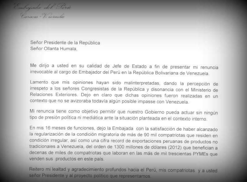 Luis Raygada renuncia al cargo de embajador en Venezuela (Documento)