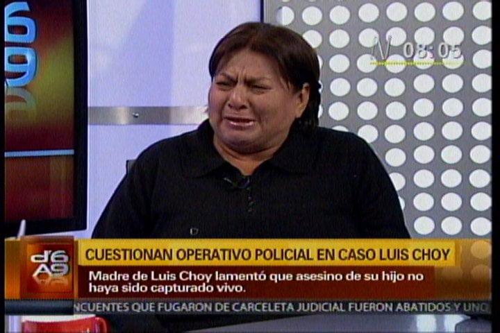 """Madre de Luis Choy: """"No se ha hecho justicia con la muerte de delincuentes"""""""