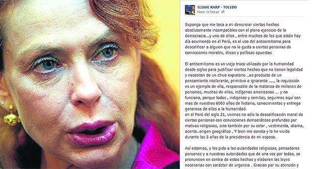 Eliane Karp dice ahora que ella y Toledo es víctima de antisemitismo y racismo