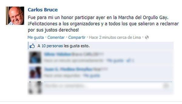 """Carlos Bruce: """"Fue un honor participar en Marcha del Orgullo Gay"""""""