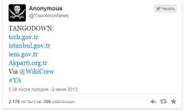 Anonymous derriba sitio web del presidente de Turquía tras represión