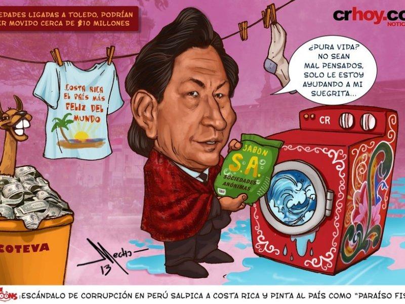 """Alejandro Toledo sale en caricatura con """"lavadora de dinero"""""""