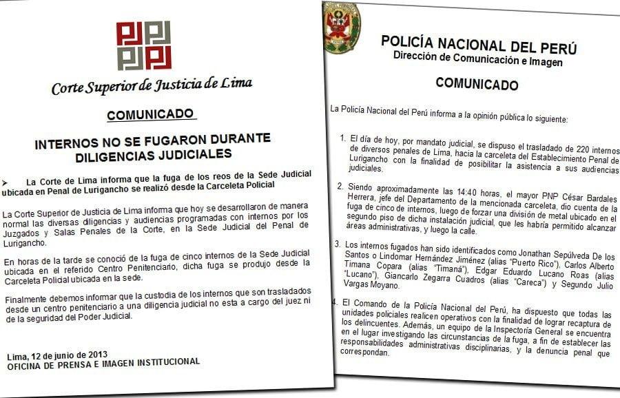 Versiones encontradas del PJ y Policía por fuga de internos