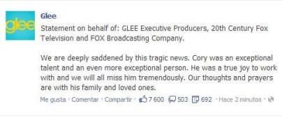 """Glee: """"Estamos entristecidos, Cory era un talento excepcional"""""""