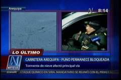 Tormenta de nieve bloquea carretera Arequipa - Puno y afecta a pasajeros