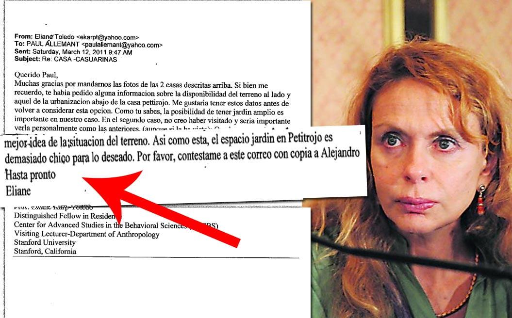 Correos de Eliane Karp implican a Alejandro Toledo en compra de mansión