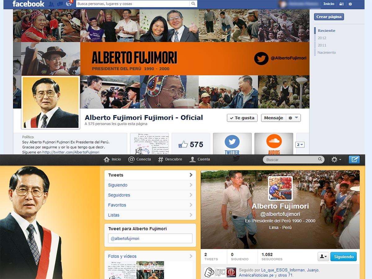 Alberto Fujimori abrió cuentas en Facebook y Twitter para sus memorias