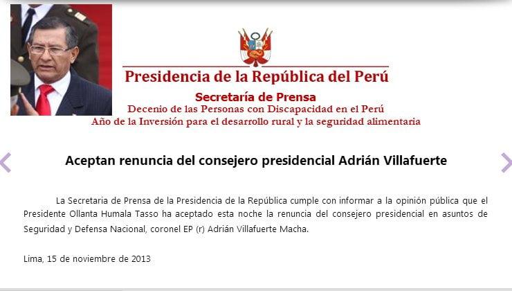 Ollanta Humala acepta renuncia de polémico asesor Adrián Villafuerte
