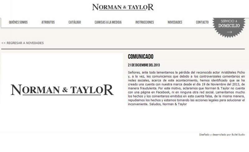 Norman & Taylor: No tenemos Facebook y rechazamos agresión a Aristóteles Picho