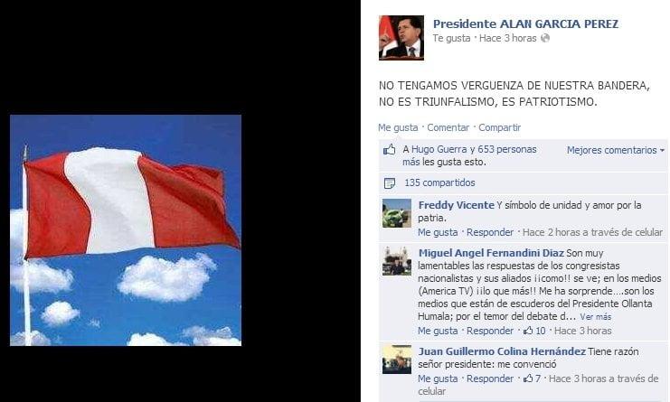 """Alan García sobre embanderamiento: """"No es triunfalismo, es patriotismo"""""""