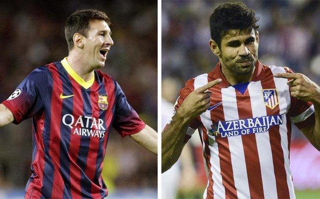 Barcelona con Lionel  Messi visitará al Atlético Madrid con Diego Costa.