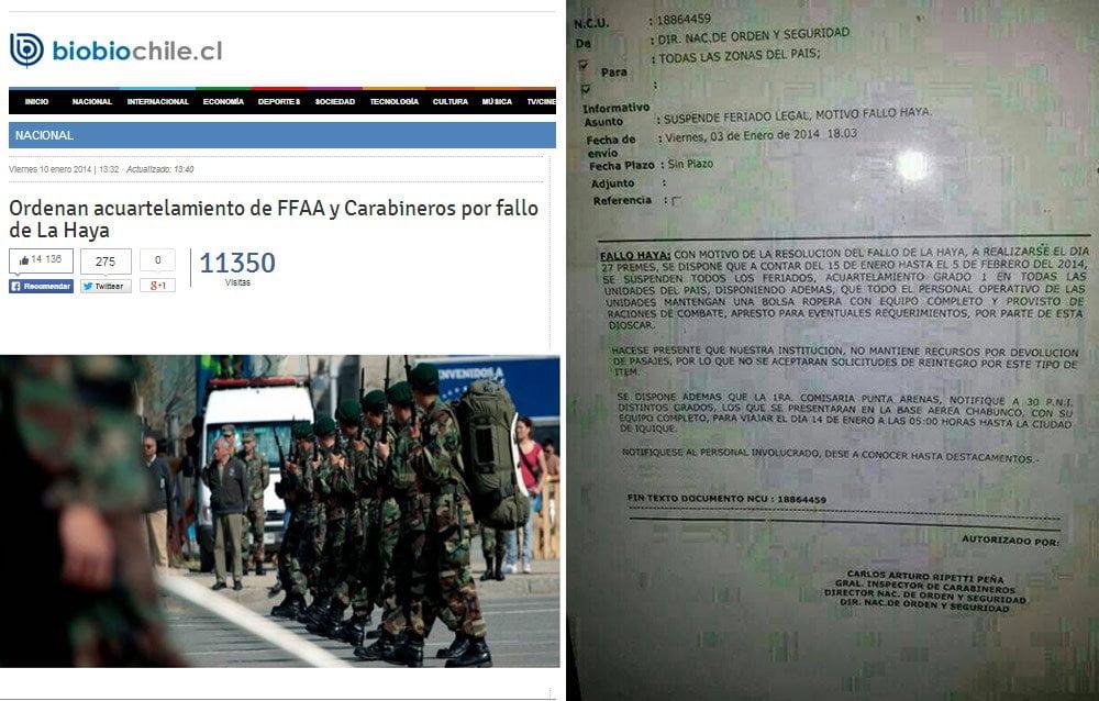 Fallo de la Haya: El 'falso' acuartelamiento que sacudió a la prensa chilena