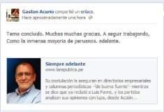 """Facebook Gastón Acurio / Gastón Acurio no postula el 2016: """"Tema concluido, gracias y a seguir trabajando"""""""