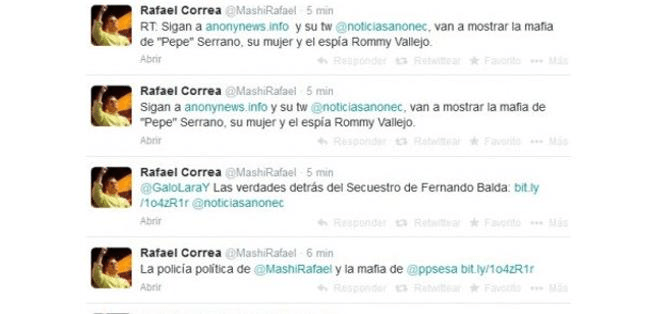 Anonymous hackeó Twitter del presidente Rafael Correa