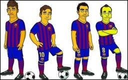 Crédito FCB y Sport.es / Neymar, Messi, Xavi e Iniesta se transforman como 'Los Simpson'