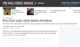 Crítica del WSJ: Nadine Heredia y su intromisión en el régimen de Ollanta Humala
