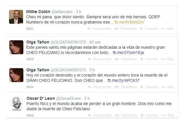 Muerte de Cheo Feliciano: Artistas expresan condolencias en Twitter y declaran duelo