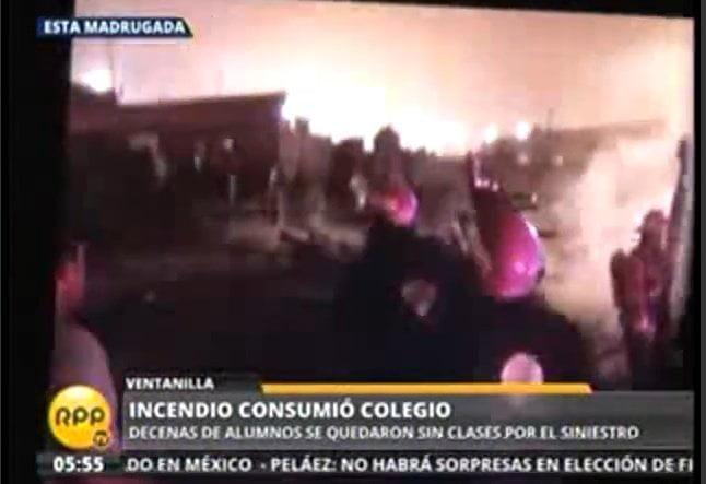 Gran incendio arrasó escuela en Ventanilla y denuncian que fue provocado