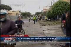Imagen TV Perú / Un sacerdote y dos choferes heridos tras accidente vehicular en Lince