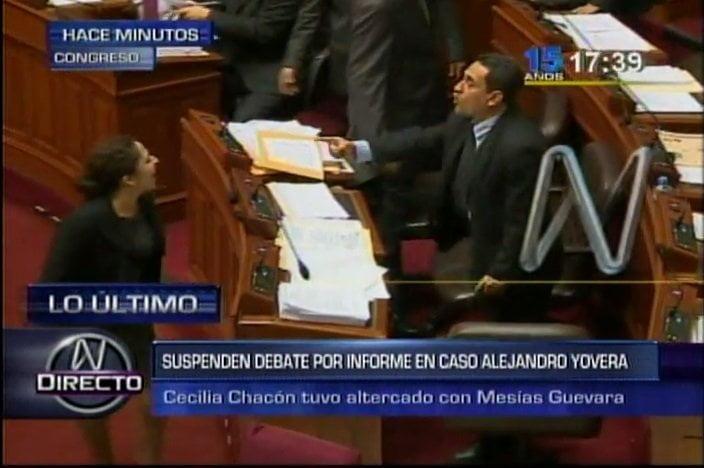 """Video y foto Canal N / Congresistas Guevara y Chacón se gritan """"corrupta"""" y """"cobarde"""""""