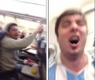 [VIDEO] En un avión y a 12 mil metros celebraron el triunfo de Argentina