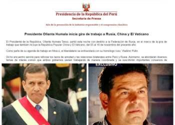 Humala abandona el país en medio de críticas por caso Belaunde Lossio