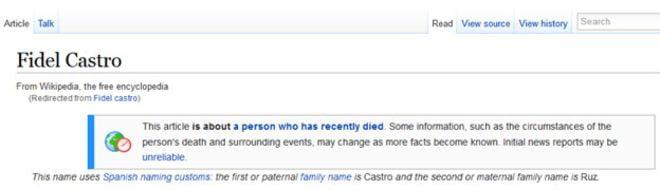 Wikipedia dio por muerto a Fidel Castro pero luego corrigió error