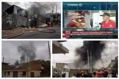 Cinco bomberos heridos por explosión en Villa María del Triunfo