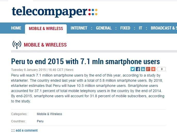 Perú: 7.1 millones usarán smartphones al finalizar el 2015