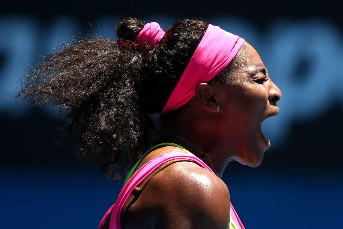 Grito eufórico de Serena Williams tras clasificar a octavos de final.